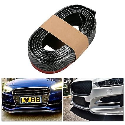 Black Mofeng Universal Carbon Fiber Front Bumper Guards Spoiler Lip Side Skirt Protector Rubber DIY Anti-Scratch for Cars SUV Trucks