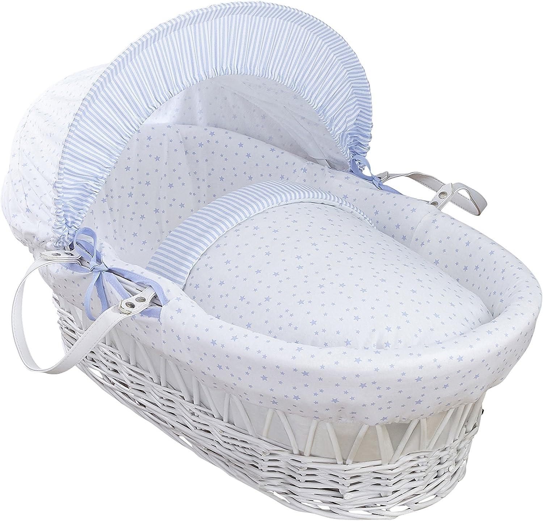 Clair de Lune estrellas y rayas color blanco mimbre Moisés Basket inc. ropa de cama, colchón y capucha ajustable (azul)