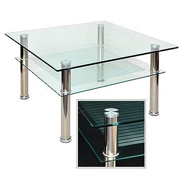 Glastisch 80 X Cm Zarter Beistelltisch Ecktisch Couchtisch Aus Edelstahl Mit 10 Mm ESG Sicherheitsglas