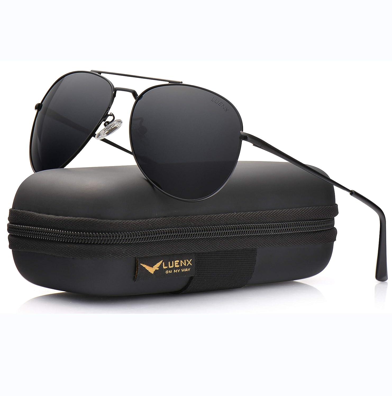 49acfc54bd1 Amazon.com  LUENX Aviator Sunglasses Men Women Polarized with Case - UV 400  Non-Mirror Black Lens Metal Black Frame 60mm  Sports   Outdoors
