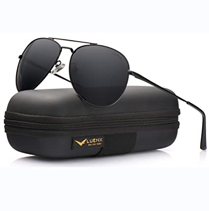 cd302b2f3f37b Image Unavailable. Image not available for. Color  LUENX Aviator Sunglasses  Men Women Polarized with Case - UV 400 ...