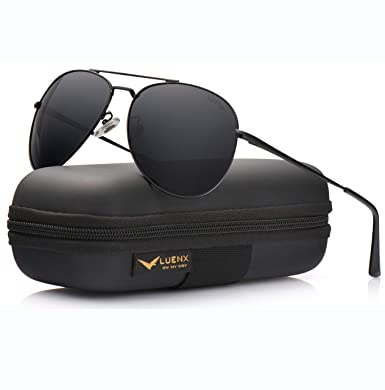 0871bb686b LUENX Aviator Sunglasses Men Women Polarized with Case - UV 400 Non Mirror Black  Lens Metal Black Frame 60mm  Amazon.in  Clothing   Accessories