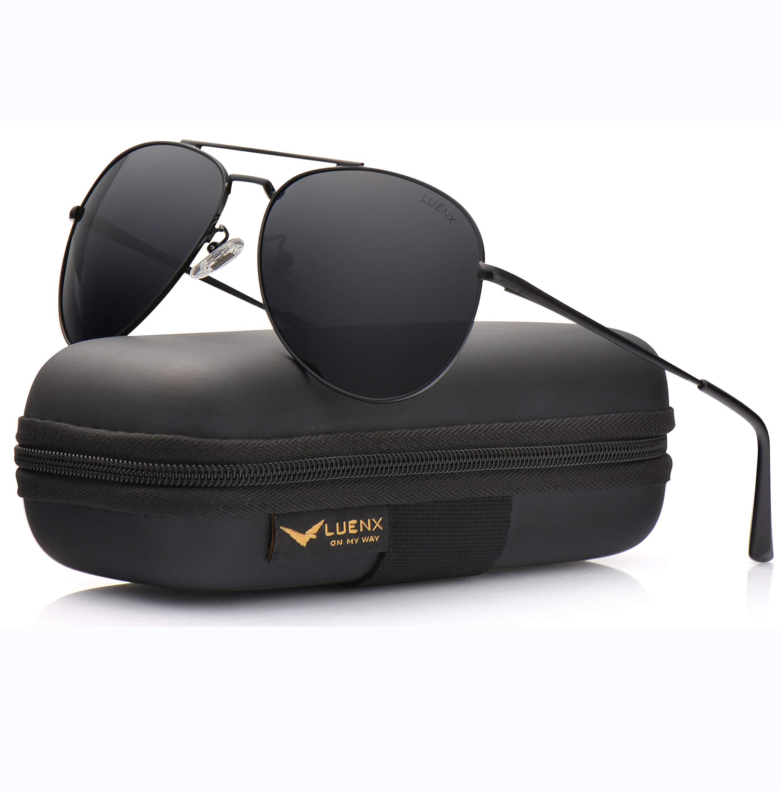 bc22ef5996 Galleon - LUENX Aviator Sunglasses Men Women Polarized With Case - UV 400  Non-Mirror Black Lens Metal Black Frame 60mm