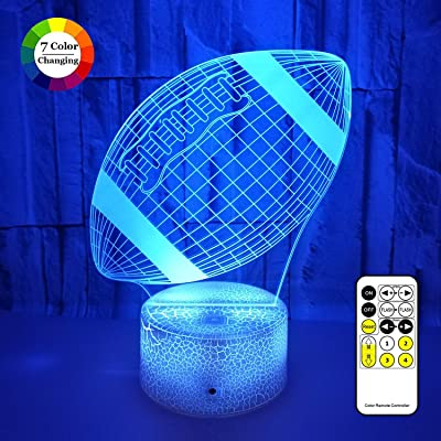 3D LED Illusion Lamp, Football Night Lights for Kids 7 Colors Changing Nightlight with USB Powered, Touch & Remote Control Best Birthday for Boys Girls Kids Baby: Home & Kitchen