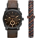 Fossil Mens Machine Watch and Bracelet Box Set...