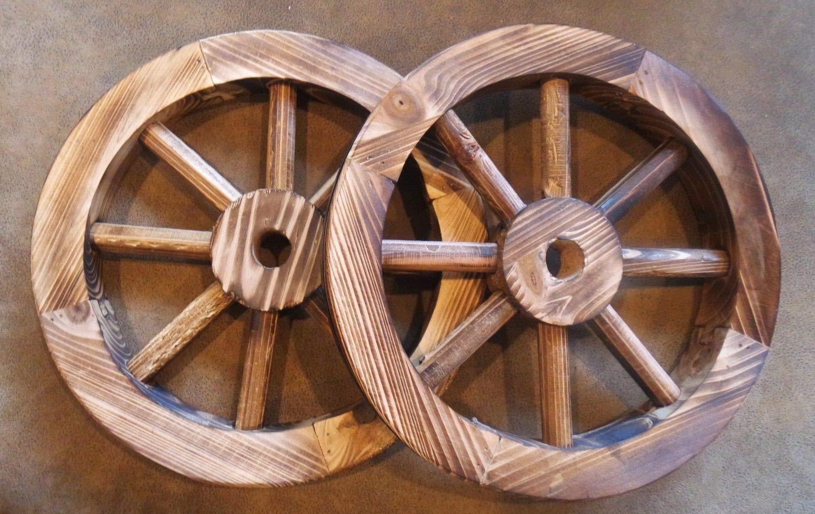 Galapagoz Wooden Wagon Wheels Burnt Wood Wheel Look Garden Decor Table Centerpiece Decorative 12'' 2 Pack US by Galapagoz (Image #1)