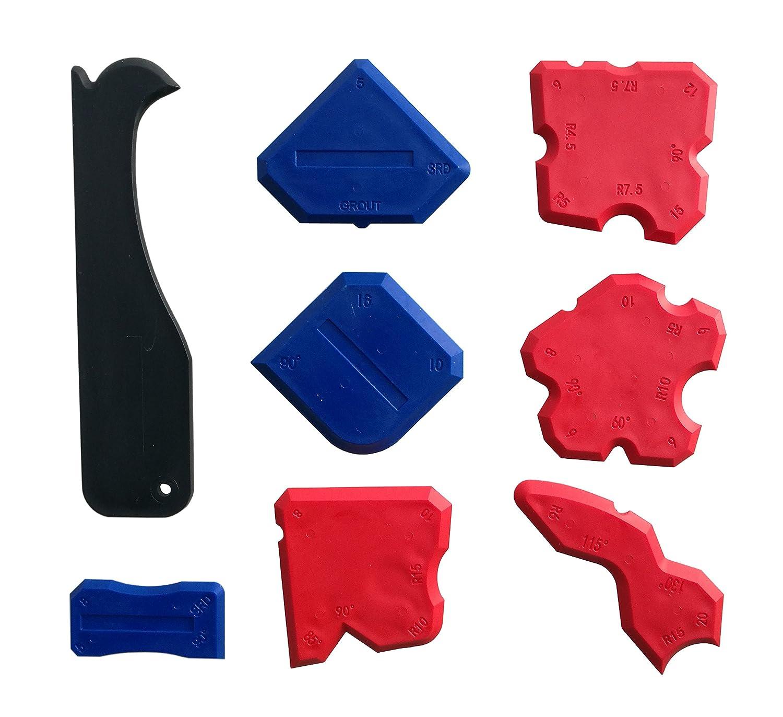 Silicone Sealant Finishing Tools – Silicone Smoothing Caulking Profile Line Joint Corner Tool with Caulk Remover Tool, Sealant Smoother Profiler Former Applicator Edger, 8 Piece Taiyuan