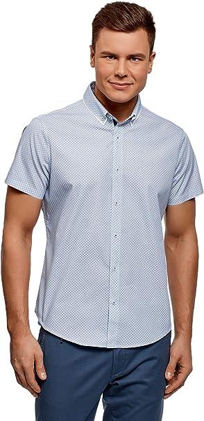oodji Ultra Uomo Camicia Aderente con Colletto Button Down