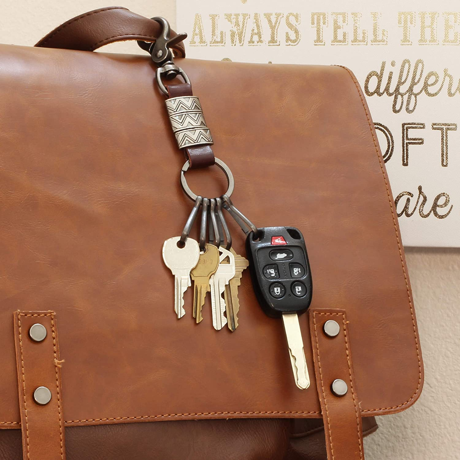 Aztec Brown Leather Keychain Car Key Chains for Men Cute Keychain for Women Dapper/&Doll Quick Release Keychain w//Key Clip Hooks /& Ring