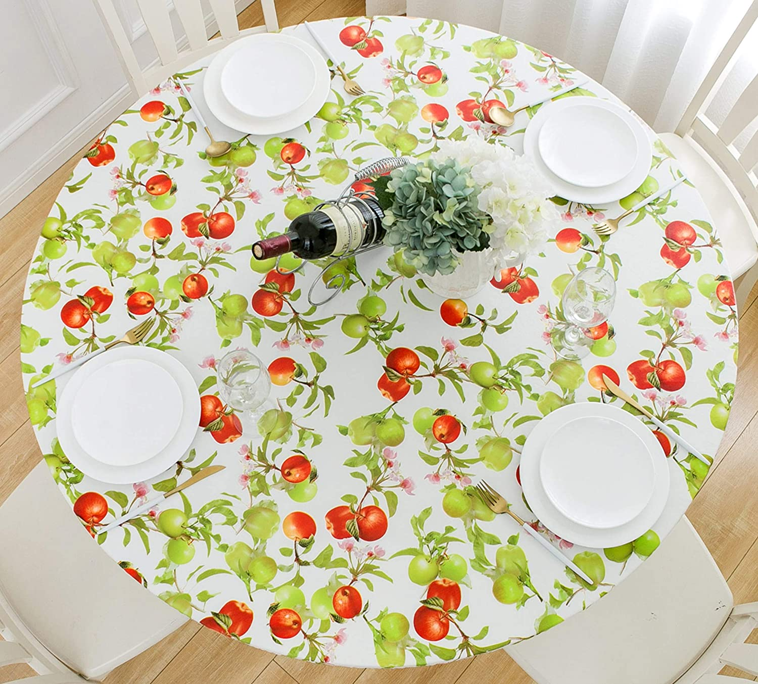 Rally Home Goods Indoor Outdoor Patio Round Fitted Vinyl Tablecloth, Flannel Backing, Elastic Edge, Waterproof Wipeable Plastic Cover, Apples Fruits Pattern for 5-Seat Table of 36-44'' Diameter