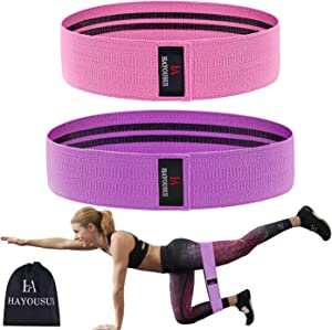 Hayousui Exercise Resistance Workout Band - Hip Elastic Booty Bands Set for Legs Arms Butt Fit for Training Pilates Stretching Physical Therapy Yoga Home Fitness P90x Crossfit