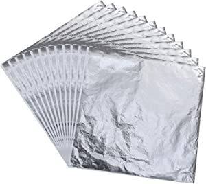 Imitation Leaf for Gilding Crafting, Arts Project, Furniture Decoration, 5.5 by 5.5 Inches (Silver, 300 Sheets)