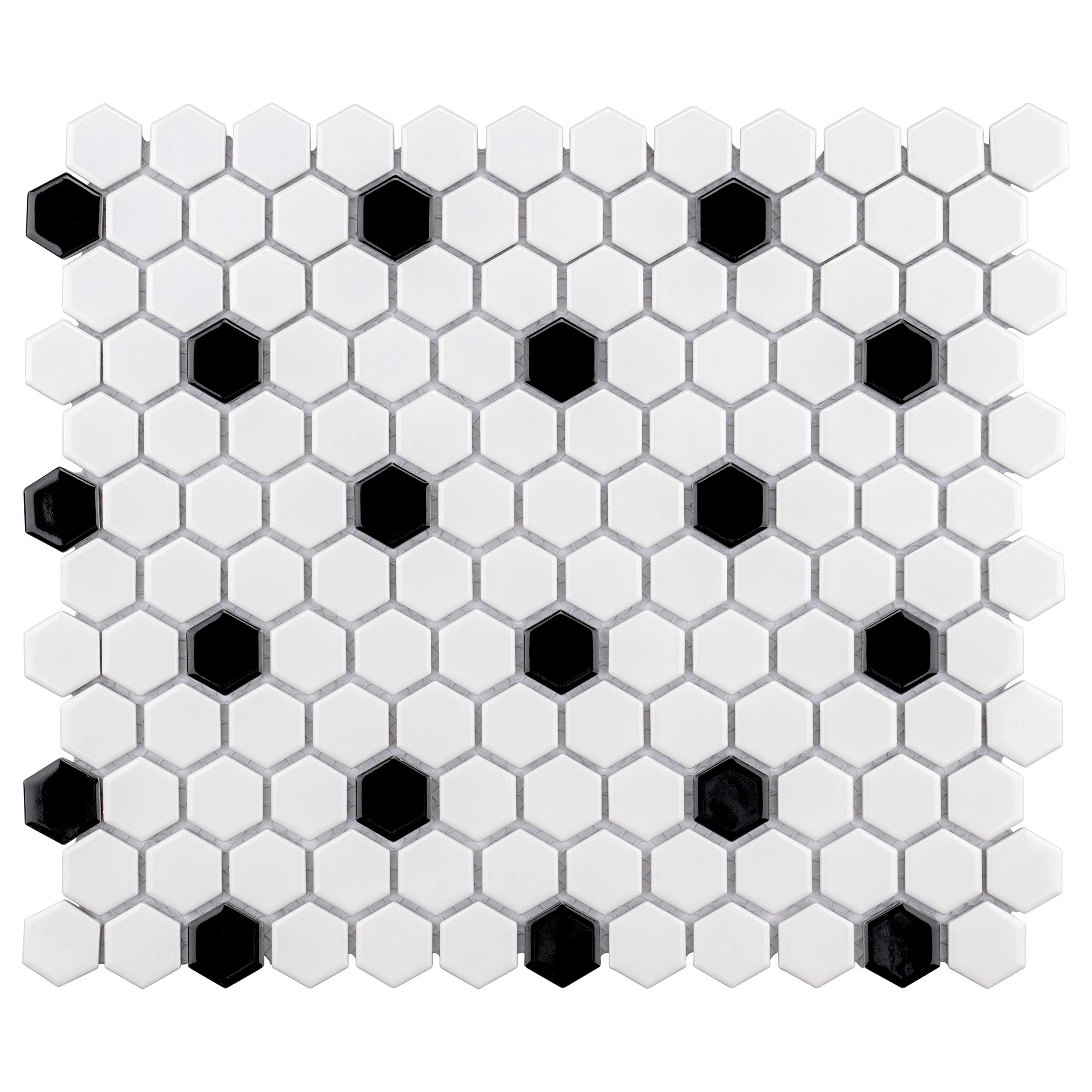 SomerTile FXLMHWBD Retro Hexagon Porcelain Mosaic Floor and Wall Tile, 10.25'' x 11.75'', White with Black Dot by SOMERTILE