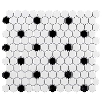 Somertile Fxlmhwbd Retro Hexagon Porcelain Mosaic Floor And Wall