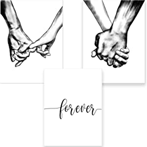 Hands Forever Framed Canvas Wall Art For Bedroom Ready To Hang Black & White Bedroom Decor For Couples Line Drawing Love Prints Aesthetic Artwork Wall Pictures for Living Room Home Decor