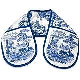 Blue Italian 18 x 88 cm Cotton Double Oven Glove, Blue/White