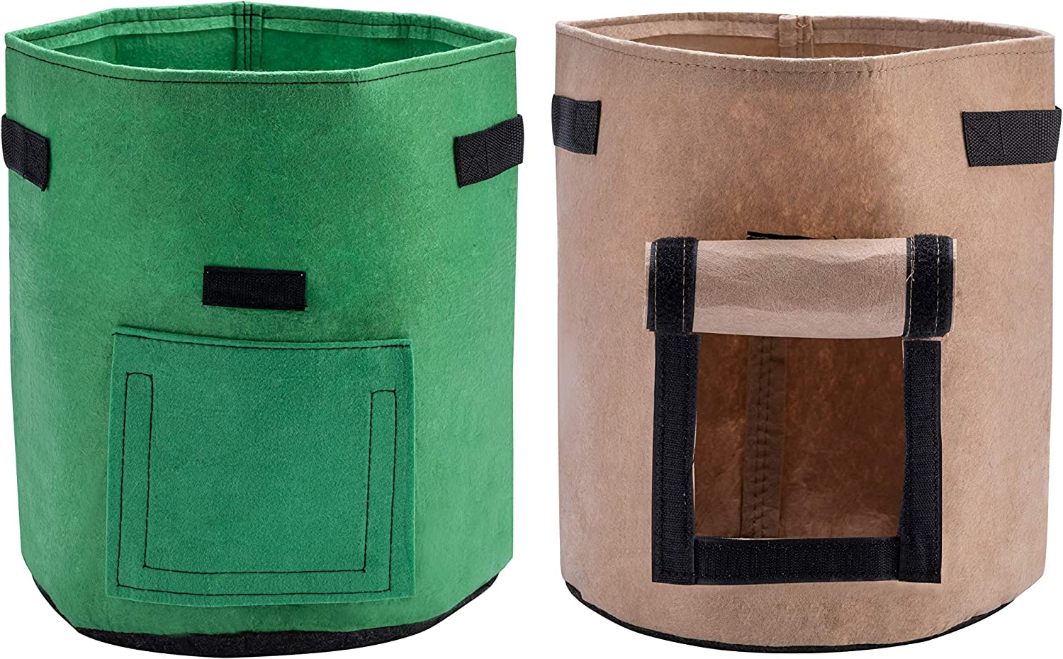 X L MAGNET Potato Grow Bags 2-Pack 7 Gallon Planter Pots Garden Bags to Grow Vegetables with Aeration Fabric Flap Handles and Window for Harvesting Fruit Flower Potato Carrot Green Brown