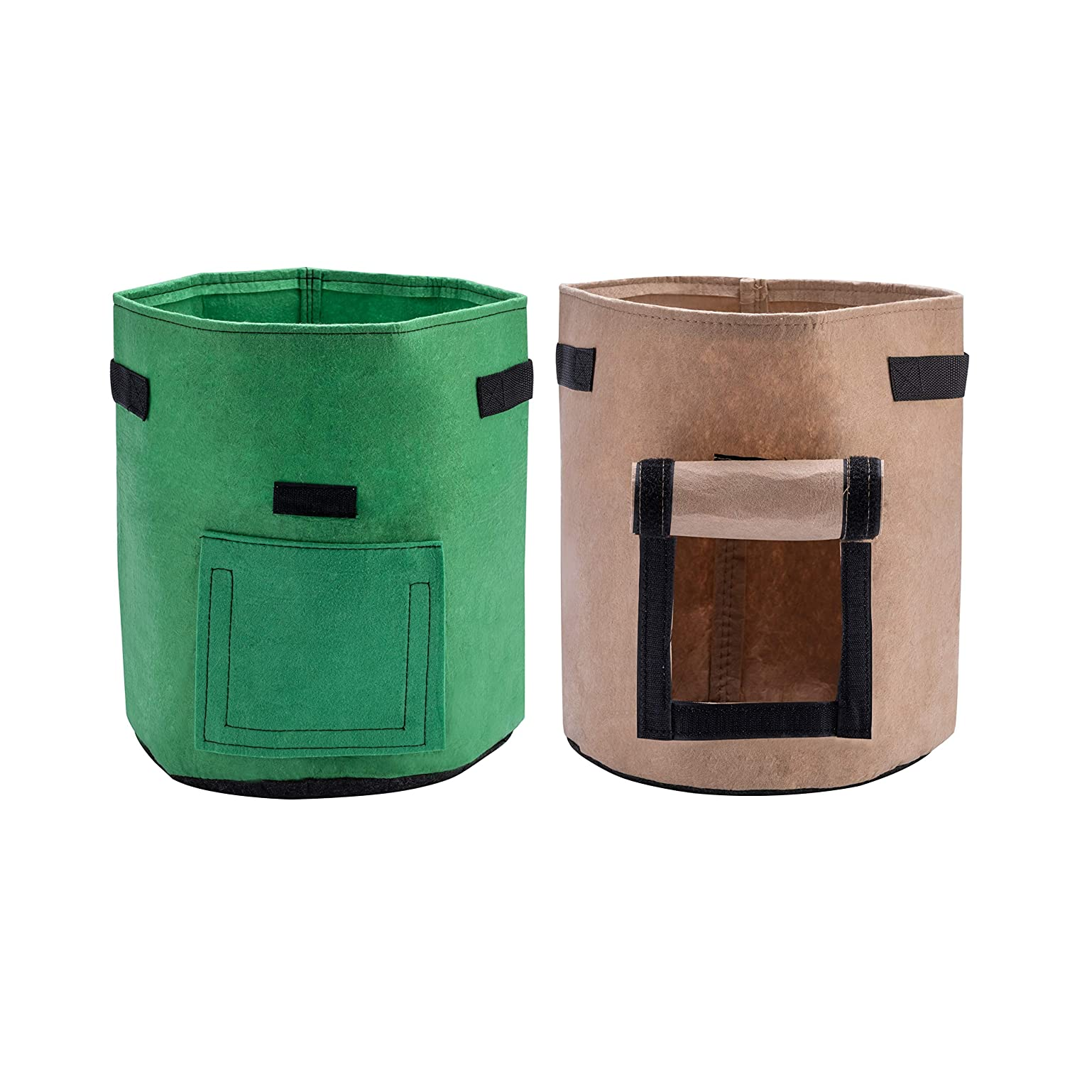 X L MAGNET Potato Grow Bags 2-Pack 7 Gallon Planter Pots Garden Bags to Grow Vegetables with Aeration Fabric Flap Handles and Windowfor Harvesting Fruit Flower Potato Carrot (Green & Brown)