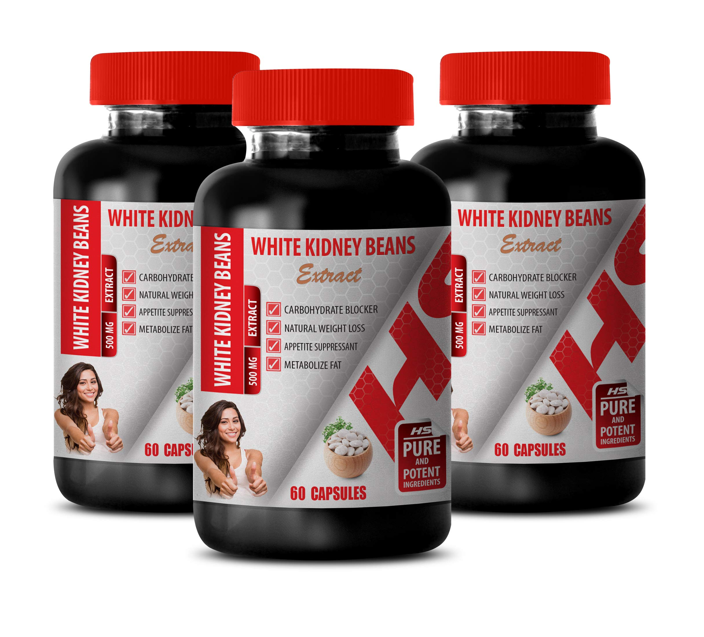 Fat Burner Metabolism Booster - White Kidney Beans 500MG Extract - Weight Loss Natural Vitamins - 3 Bottles (180 Capsules) by Healthy Supplements LLC (Image #1)