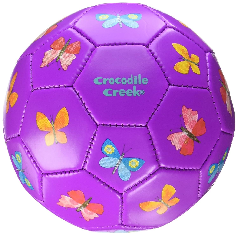 Crocodile Creek Kids Butterfliesサッカーボール、パープル、2 / 5.5