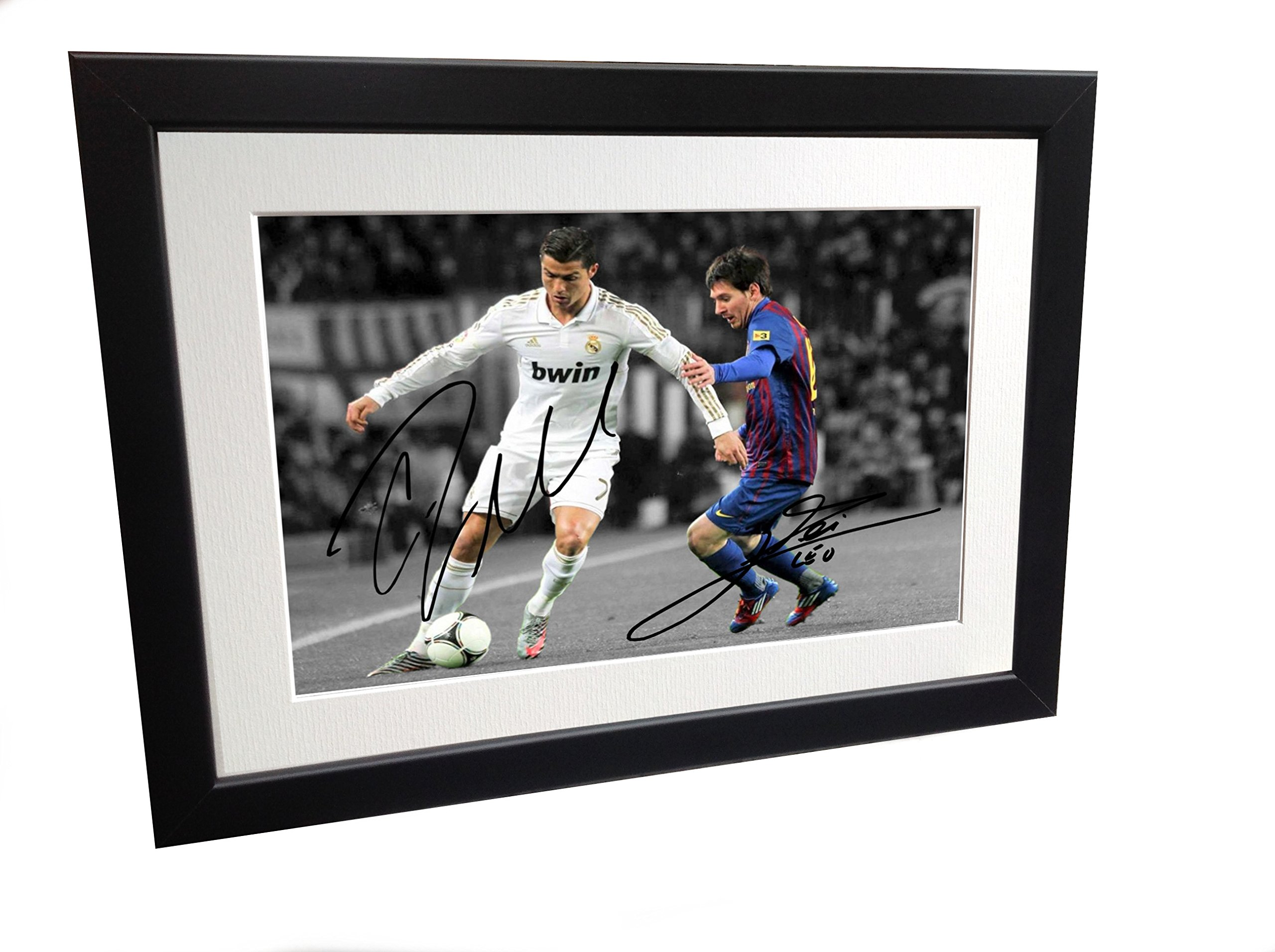 Signed Black Soccer Cristiano Ronaldo Real Madrid Lionel Messi Barcelona Autographed Photo Photograph Picture Frame Gift SM