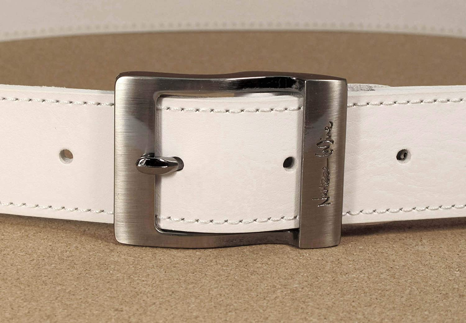 CM1 Mens Real Genuine Leather White Belt 1.5 Wide S-XL Thick Long Casual Jeans