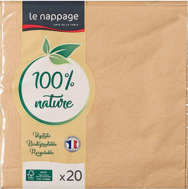 Le Nappage Grand Format 40 x 39 cm Recyclables et Biod/égradables Serviettes de Table 3 plis en Ouate Couleur Beige Serviettes Papier Certifi/ées FSC/® Lot de 20 Serviettes Beiges