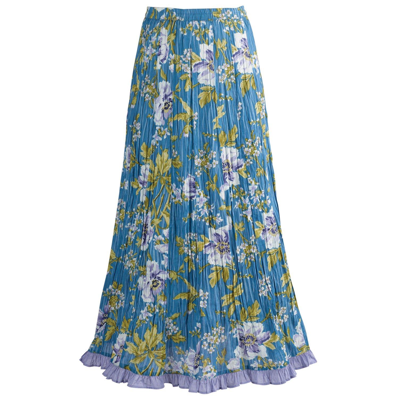Catalog Classics Long Peasant Skirt - Waterlily Crinkle Print with Elastic Waist - Medium