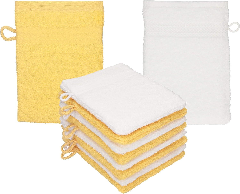 Betz Paquete de 10 Manoplas de baño Premium 100% algodón 16x21 cm Amarillo Miel - Blanco: Amazon.es: Hogar