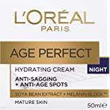 L'Oréal Paris Age Perfect Hydrating Night Cream for Mature Skin, with Soya Bean Extract and Melanin Block, 50ml