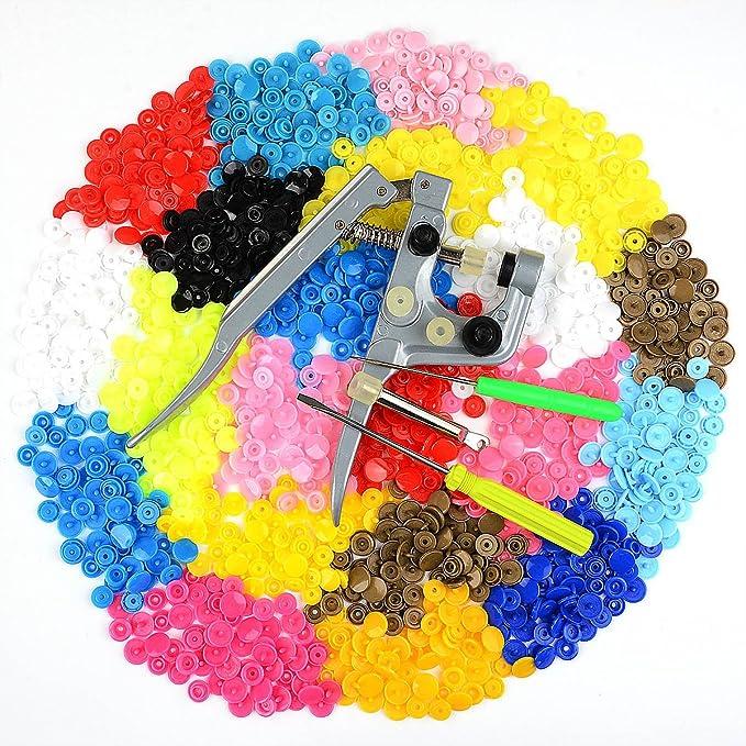 Idealeben 350pcs T5 Snaps Botones Redondos Plasticos Alicates DIY Manualidades (25 Colores): Amazon.es: Hogar