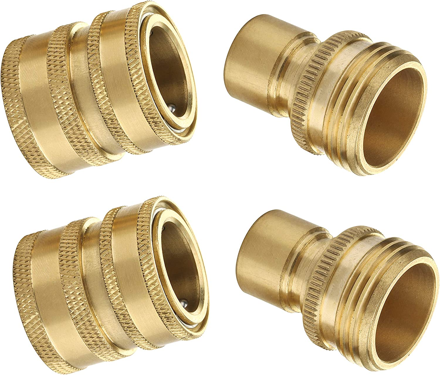 M MINGLE Garden Hose Quick Connect Fittings, 3/4 Inch GHT Solid Brass, Quick Connector Set, 2-Pack