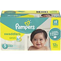 Pampers Swaddlers Disposable Diapers Size 5, 132 Count, ONE MONTH SUPPLY