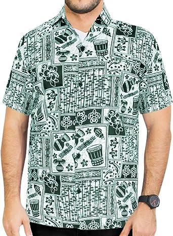 LA LEELA Casual Hawaiana Camisa para Hombre Señores Manga Corta Bolsillo Delantero Surf Palmeras Caballeros Playa Aloha XS-(in cms):91-96 Verde_W754: Amazon.es: Ropa y accesorios