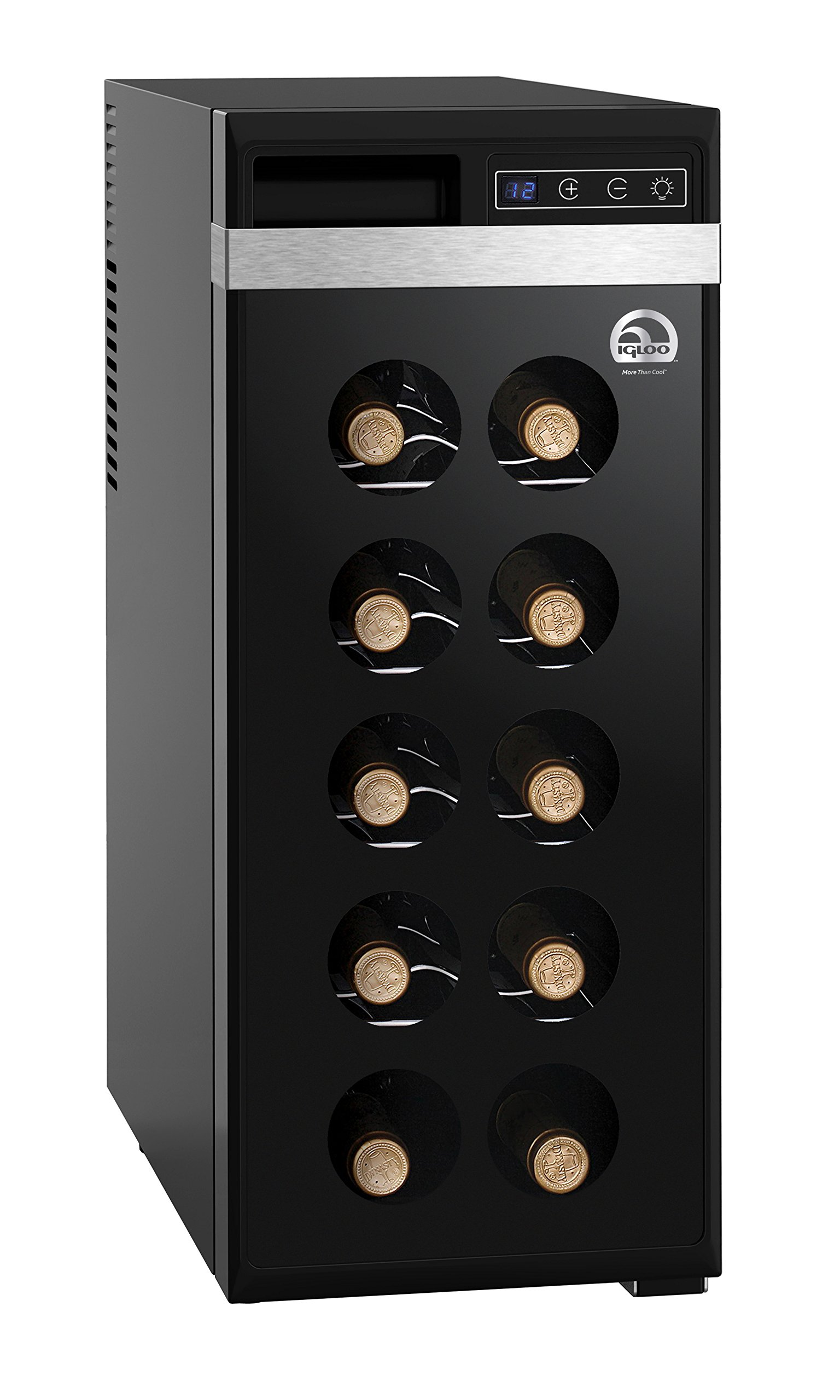 IGLOO FRW1213 12-Bottle Wine Cooler with Digital Controls, Black
