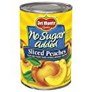 Del Monte Canned Yellow Cling Sliced Peaches, No Sugar Added, 14.5-Ounce (Pack of 12)
