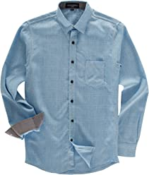 2be3e47774 FREDD MARSHALL Men s 100% Cotton Regular-Fit Long-Sleeve Plaid Shirt with  Pocket