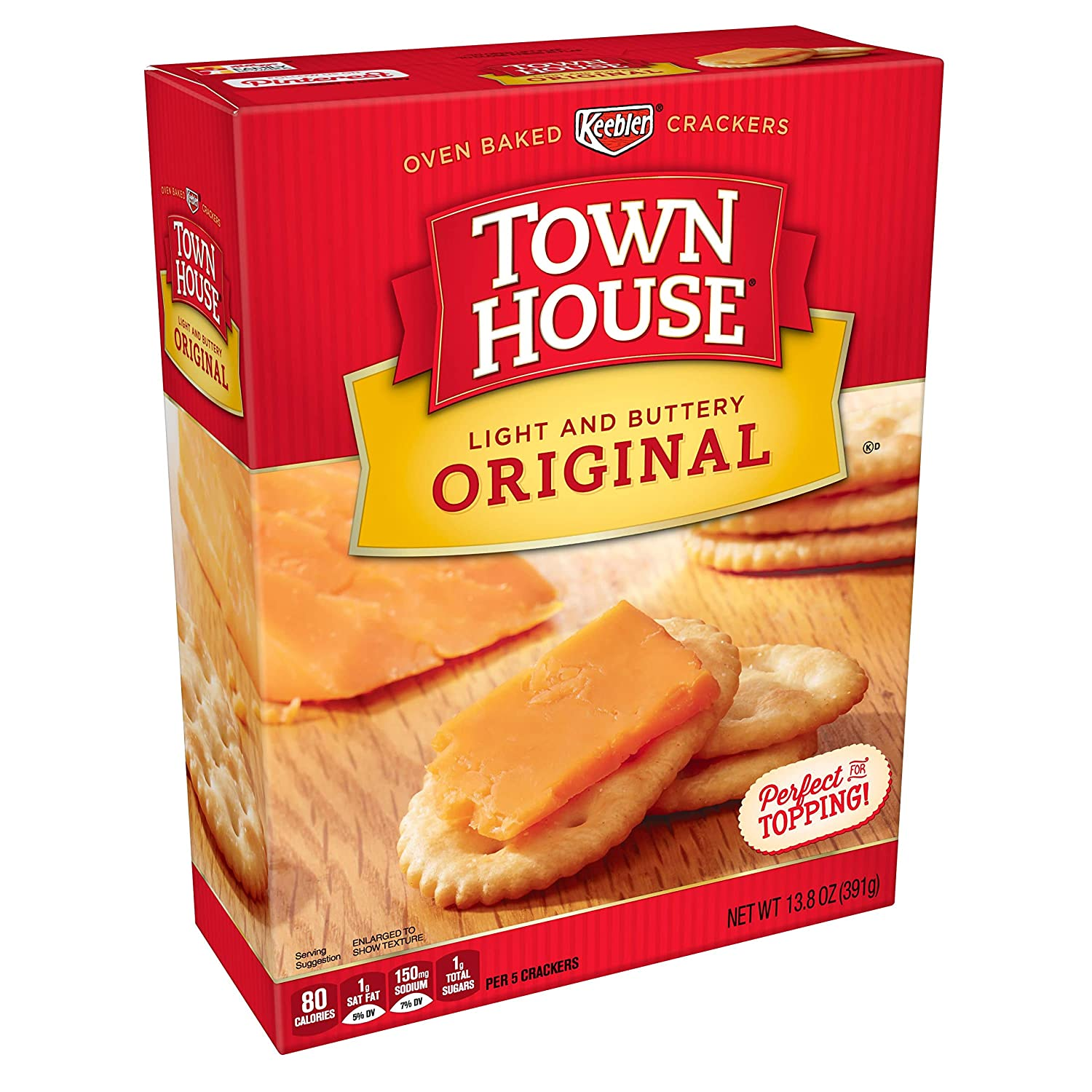 (Discontinued by Manufacturer)Keebler, Town House, Snack Crackers, Light  and Buttery, Original, 13 8 oz Box