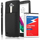 iPosible LG G4 Extended Battery BL-51YF [ 6700mAh] with Back Cover & Extended TPU Protective Case (Up to 240% Extra Battery Power) - 24 Month Warranty [ 2in1 Stylus Pen Included]