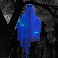Halloween Hanging Light up Ghost with Spooky Blue LED Light, 47€ White Hanging Ghosts, Best Halloween Hanging Decoration for Front Yard Patio Lawn Garden Party Decor Indoor Outdoor