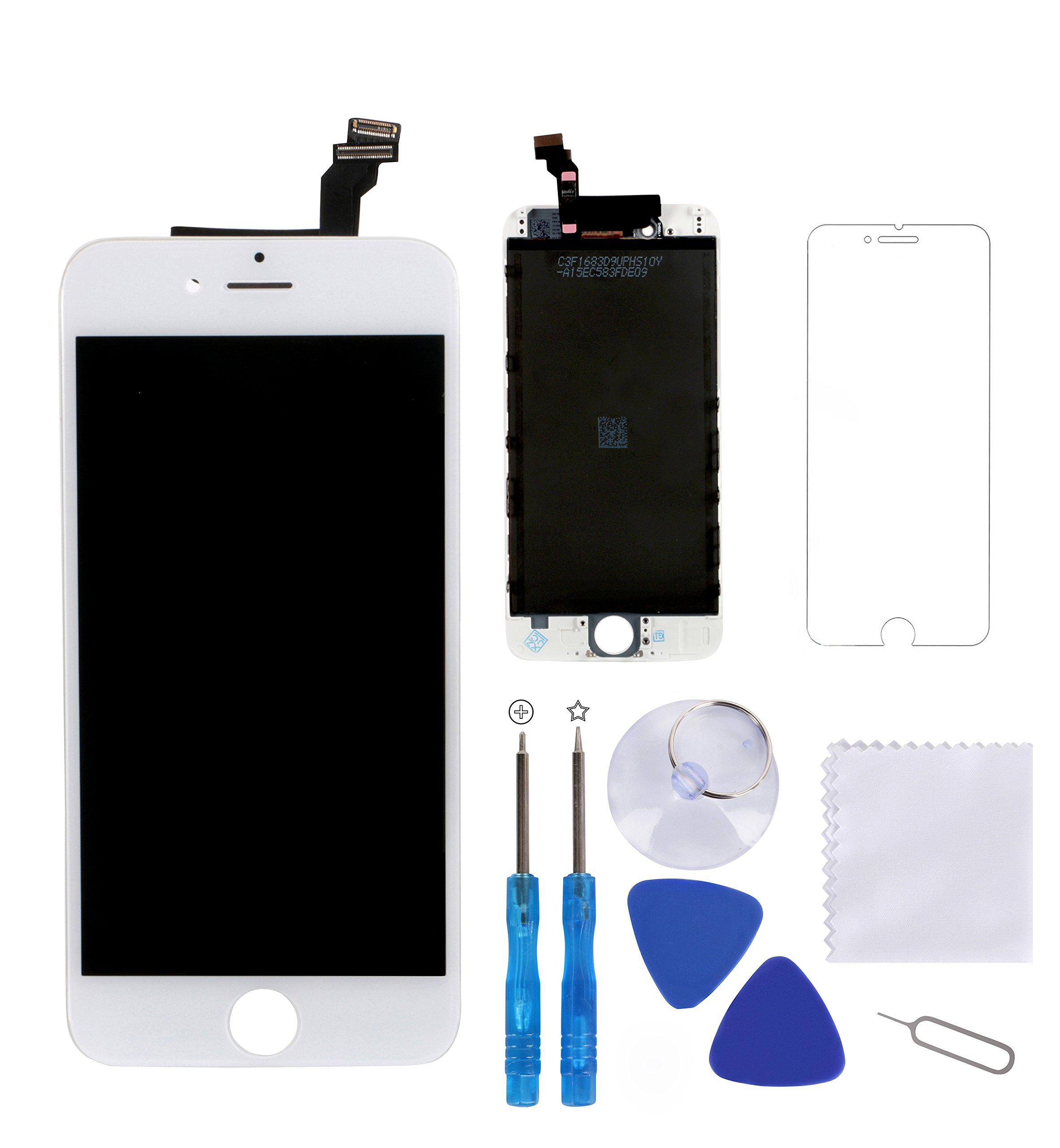 iPhone 6 Screen Replacement White, Giorefix 4.7 Inch LCD Display Touch Screen Digitizer Frame Assembly with Full Set Repair Tools Screen Protector for iPhone 6 Display White