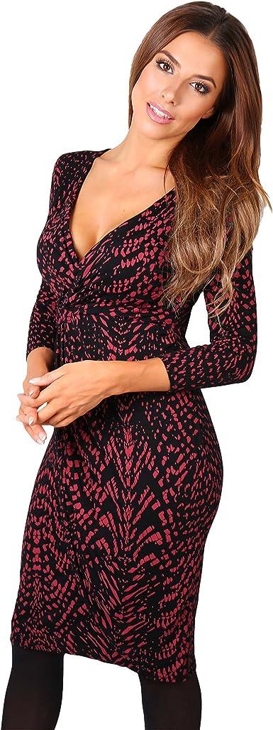 TALLA 46. KRISP Vestido Mujer Ajustado Fiesta Invitada Boda Outlet Corto Colores Tallas Grandes Noche Elegante Cóctel Burdeos/Negro (6609) 46