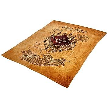 Karte Des Rumtreibers.Elbenwald Harry Potter Flausch Decke Karte Des Rumtreibers Marauders Map 180x220cm Beige