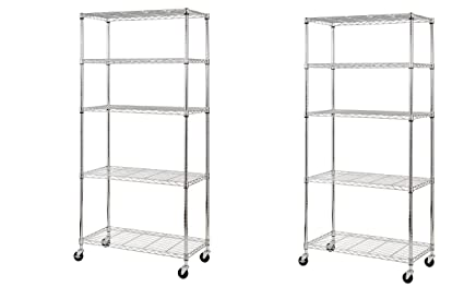 Wire Shelves | Amazon Com Sandusky Mws361872 5 Tier Mobile Wire Shelving Unit With