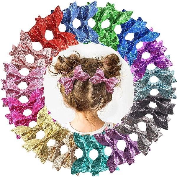 """3.5/"""" GLITTER HAIR BOW HAIR CLIP MULTI PINK PURPLE BLUE YELLOW GREEN"""