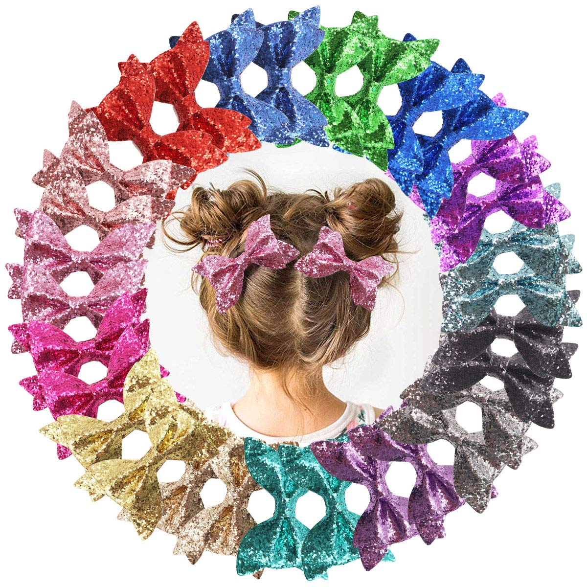 DeD 30 Pieces 4.5 Inch Glitter hair Bows clips for girl Multi Color Sparkly Sequins hair bows Alligator Clips for Baby Girls Teens Toddlers(15 Pair)