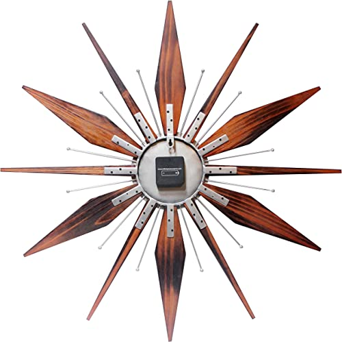 Infinity Instruments Utopia Mid-Century 30 inch Wood and Metal Wall Clock