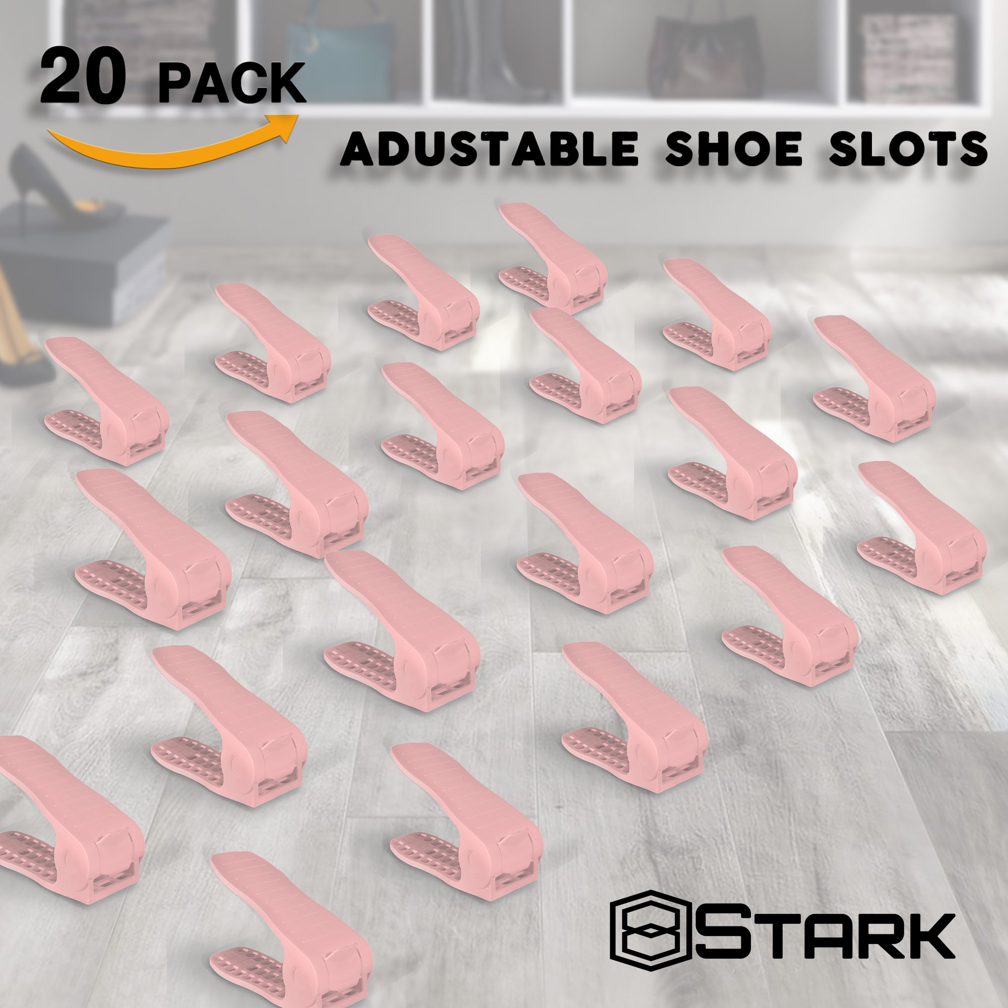 [UPGRADED] Shoe Organizer - Adjustable Display Closet Space Saver - Small Double Rack Shoe Slot for 1 Pair - Pink - 20 Pcs