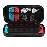 Nintendo Switch ケース-NONZERS 任天堂Switch 専用保護カバー ニンテンドー スイッチ ケース 小物収納 EVA 軽量 耐衝撃 防水保護ケース 収納バッグ 外出や旅行用ハンドバッグ ブラック