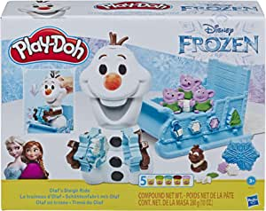 DISNEY Frozen Play-Doh - Olaf's Sleigh Ride Play Set inc 5 Tubs of Dough - sensory and educational craft toys for kids, boys, girls - Ages 3+